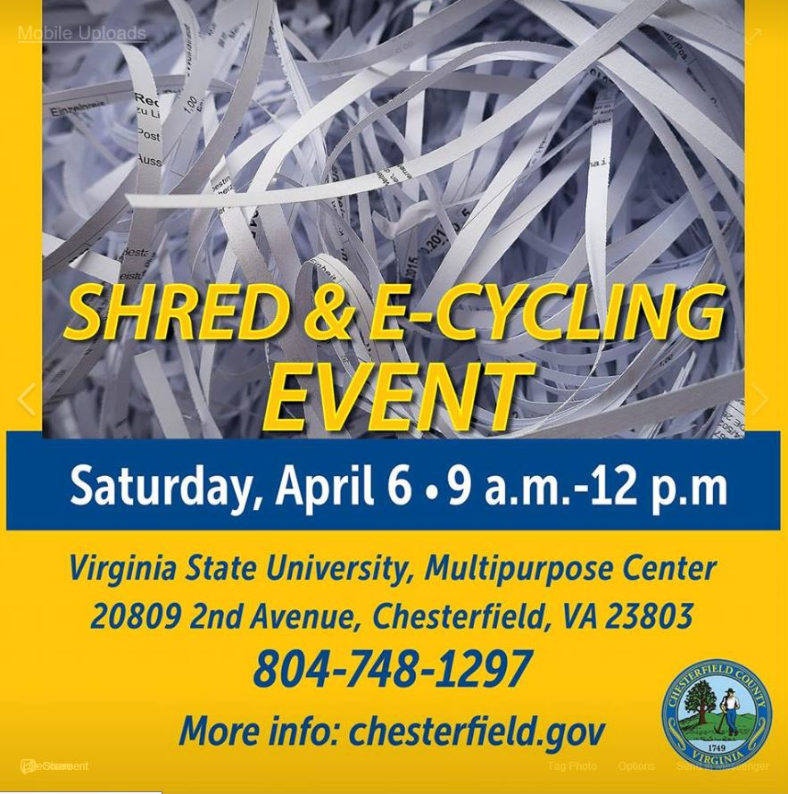 Chesterfield County Shred & Electronics Recycling Event